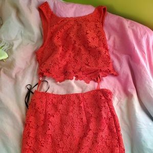 Bebe lace set skirt and top size 4 assymetrical